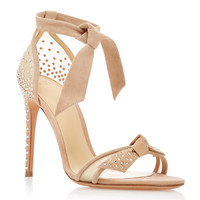 Clarita Swarovski Crystal-Embellished Suede and Woven Sandals | Moda Operandi