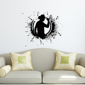 Wall Vinyl Decal Sticker  Stylish Man Cowboy  Art Design Room Nice Picture Decor Hall Wall Chu200