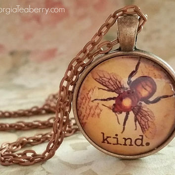 Be Kind, glass dome necklace, round glass pendant, gift idea, hostess gift, party favors, Christmas, stocking stuffer, key ring, Bee Kind