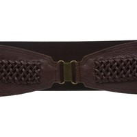 "4"" Wide High Waist Fashion Leather Braided Stretch Belt Size: One-Size: 28"" ~ 35"" Color: Green"