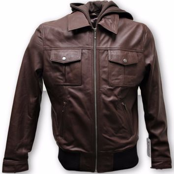 Mens Camelon Choco Bomber Leather Jacket w/Hoody - Super Sale