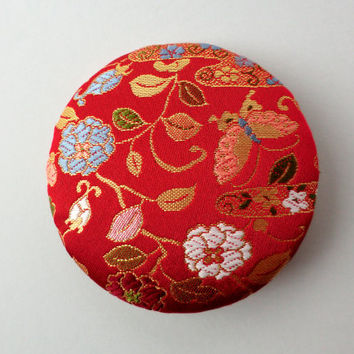 "Japanese kimono fabric brooch, G4, 4"" inches, handmade Japanese fabric pin back, Kawaii accessory, japanese brocade fabric pin,"