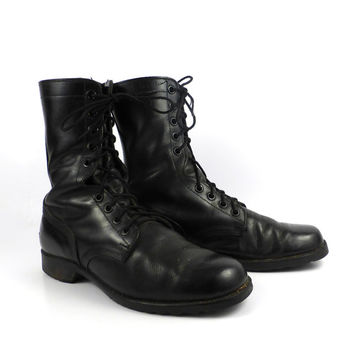 Combat Boots Men's Vintage 1970s Black Leather Distressed Lace Up Grunge men's 11 R