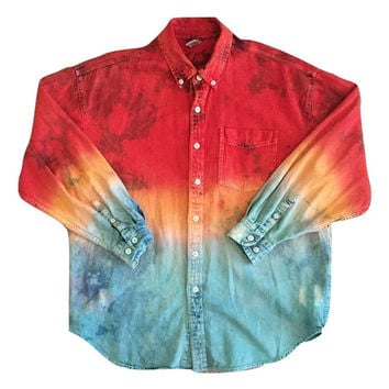 Vintage tye dye Ombre Button up oxford Tshirt Clothing Men Women Button Down shirt tee Clothing