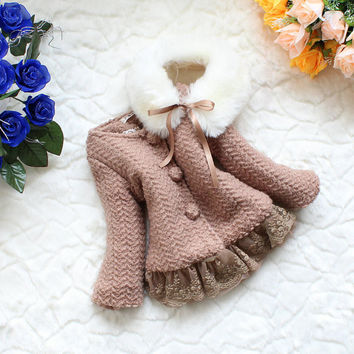 2t-5t baby clothes baby girl gown autumn spring winter coat kid brown coat gown