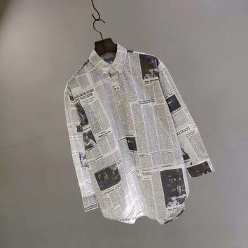 Balenciaga 18ss Stripe stitching newspaper element shirts 009