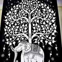 Elephant Tree Black & White Color Tapestry Indian Bedspread Throw Wall SBS030