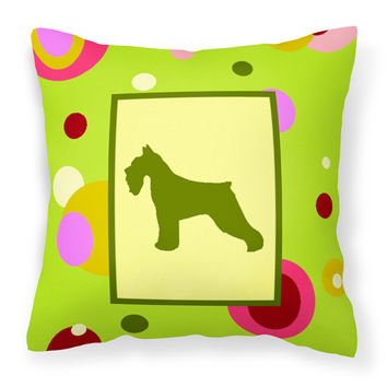 Lime Green Dots Schnauzer Fabric Decorative Pillow CK1054PW1414