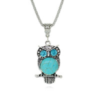 Silver and Turquoise Owl Necklace