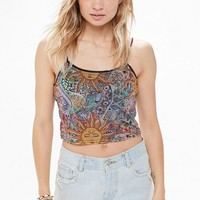 UO Printed Mesh Cropped Cami | Urban Outfitters