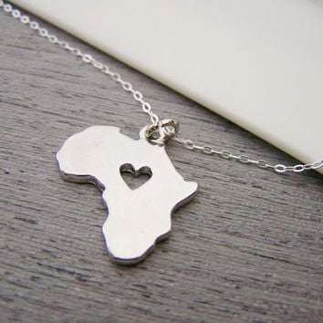 Africa Charm with Heart Necklace - Sterling Silver Jewelry