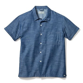 CAMP SHIRT, BLUE CHAMBRAY