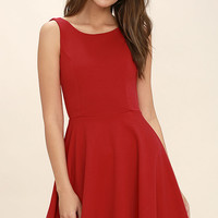 Call Me Anytime Red Backless Skater Dress
