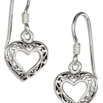 Sterling Silver Small Filigree Open Heart Earrings On French Wires