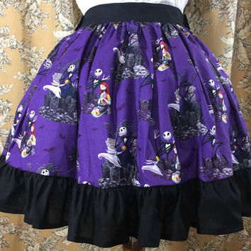 Lolita Skirt made with Nightmare Before Christmas Fabric
