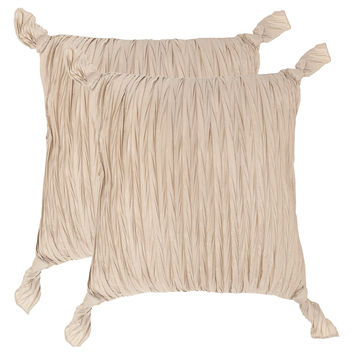 Safavieh Pillows Ruche Knots Pillows (Set of 2) - Cream/Tan