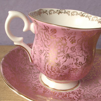 vintage Valentine's Day gift, pink and gold tea cup and saucer set, Crown Staffordshire English bone china tea set, gold roses