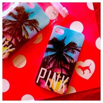 Victoria's Secret PINK Tropical Palm Tree iPhone 4 4S Cell Phone Hard Case Cover