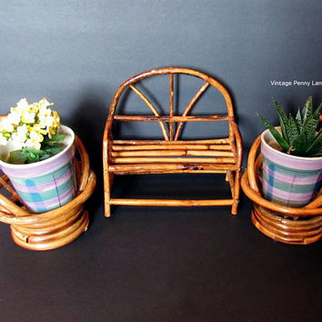 Vintage Miniature Mini Bamboo Chairs / Love Seat, Doll Furniture, Decorative Display Figurine, Plant Stands, Bohemian Style