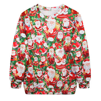 Casual Party Stylish Ugly Christmas Sweater Print Tops Lovely Christmas Hoodies [9440725572]
