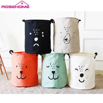 ROSEHOME Animal Face Printed Basket for Toys Laundry Basket Housekeeping Organization Folding Dirty Clothes Books Storage Basket