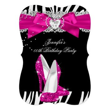 Zebra Hot Pink High Heel Shoe Black Birthday 4 5x7 Paper Invitation Card