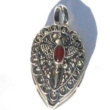 Sterling Silver Tear Prayer Box Pendant Carnelian and Gold Accents