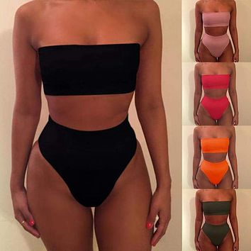 Womens High Waisted Swimwear Bandeau Strapless Bikini Set Swimsuit Bathing Suit