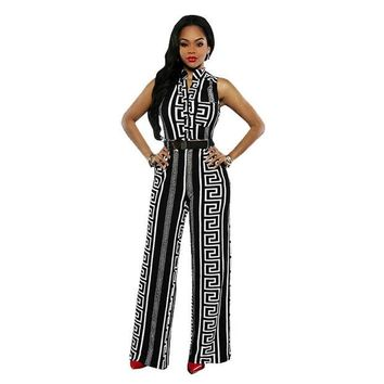 VOND4H 2017 New fashion Casual Summer Spring Sleeveless Womens Jumpsuits One Piece Elegant Wide leg Overalls Long Pants Catsuit Rompers