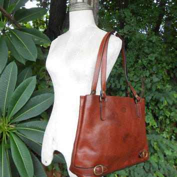 Vintage KEVIM PARIS Chesnut Brown Leather Tote / Weekender tote / Medium