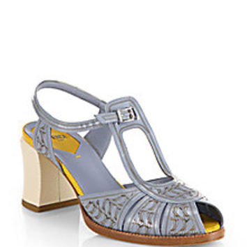 Fendi - Chameleon Bicolor Engraved Patent Leather Peep-Toe Sandals - Saks Fifth Avenue Mobile