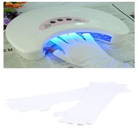 UV Protection Nail Art UV Gel Anti-ultraviolet Open-toed Gloves White (Color: White) = 1958035076