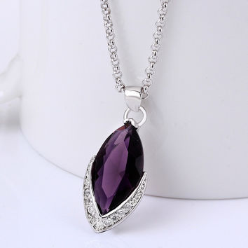 Korea New Fashion Elegant Water Drop Purple Crystal Pendant Necklace for Women (Color: Purple) = 1958082628