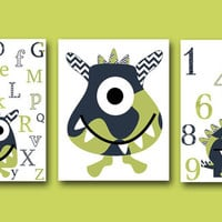 Monster Nursery Alphabet Nursery Numbers Baby Art Kids Art Baby Boy Nursery Wall Art Baby Boy Room Decor Kids Room Decor set of 3 8x10 Navy