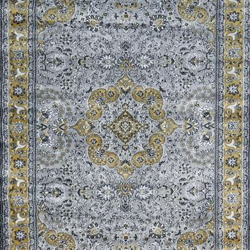 3045 Gray-Yellow Colorful Isfahan Oriental Area Rugs