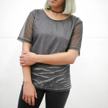 vtg 90's modern mod silver tee t shirt tshirt, metallic shiny blouse, future 1990s ironic vtg tumblr soft grunge vaporwave aesthetic fashion