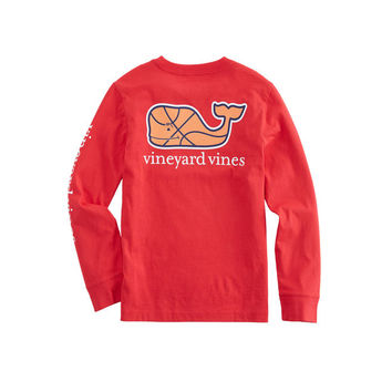 Boys Long-Sleeve Basketball Character Whale Pocket T-Shirt