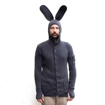 Bunny Hoody for Men and Women - Designer Spencer Hansen for Blamo Toys - Rabbit Cardigan Sweater