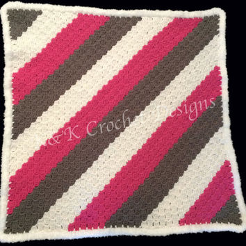 Crochet Baby Blanket / Striped Baby Blanket / C2C Blanket / Pink, White, Gray Baby Blanket