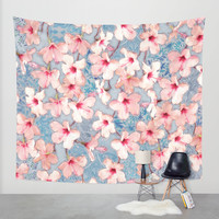 Shabby Chic Hibiscus Patchwork Pattern in Pink & Blue Wall Tapestry by Micklyn