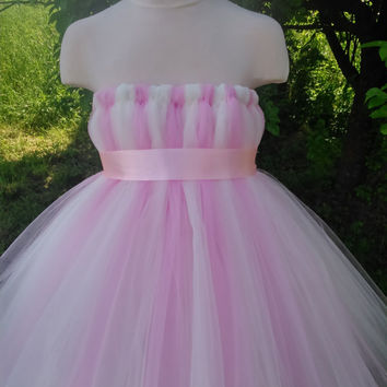 Pink and ivory empire waist tutu – tutu dress – baby tutu dress – wedding tutu dress – party tutu dress – birthday tutu dress