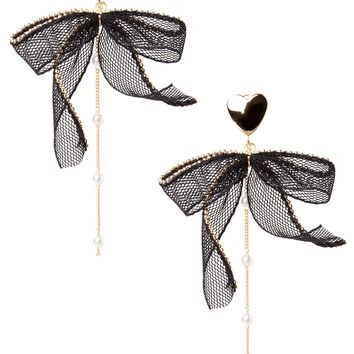 Gold Heart Bow Earrings Discover the latest fashion trends online at storets.com
