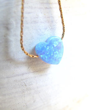 Opal necklace , blue heart opal gold necklace , small heart opal bead necklace , opal heart blue charm , opal pendant gold necklace ,