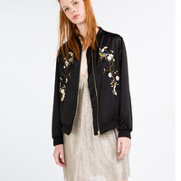 FLORAL EMBROIDERED BOMBER JACKET - BOMBERS-WOMAN | ZARA United States