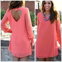 Divine Devotion Coral Heart Back Dress