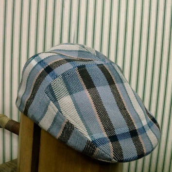 SALE Mens winter fall blue multicolor woolen tweed flat cap golf hat