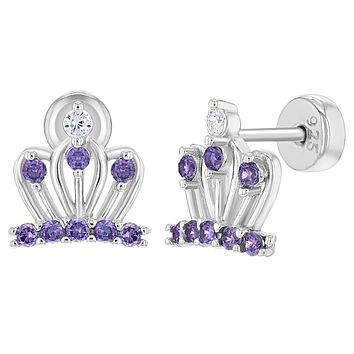925 Sterling Silver Purple Violet Princess Crown Safety Stud Earrings for Girls