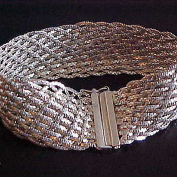 Fashionisto Montrose No Cost To Send Woven Italian Silver Bracelet 925 Italy Sterling Silver IBB Vtg hipster