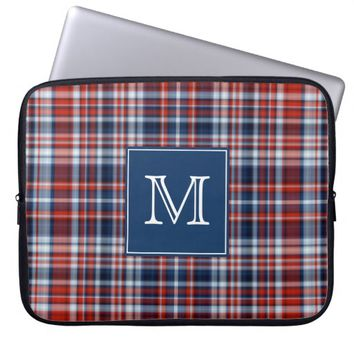 Monogram Red White and Blue Plaid Computer Sleeve