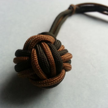 Paracord monkey fist, brown paracord, green paracord, monkey fist, 550 cord, survival gear, camping gear, hunting gear, everyday carry
